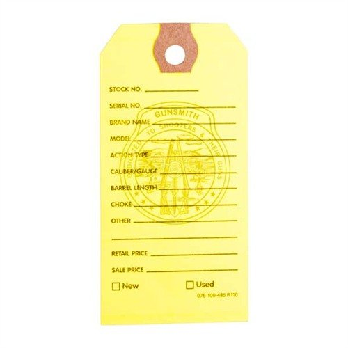 100 Brownells Gun Price Tags, Yellow