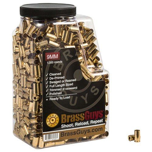 9mm Luger Once-Fired Processed Brass 1,000/Jug