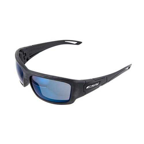 Blue Mirror Credence Shooting Glasses Black